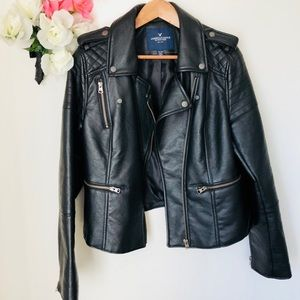 American eagle outfitters faux black motor leather